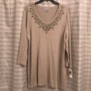 Shimmery Gold longsleeve sweater, jewel accents 2X